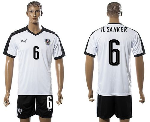 Austria #6 IlSanker White Away Soccer Country Jersey
