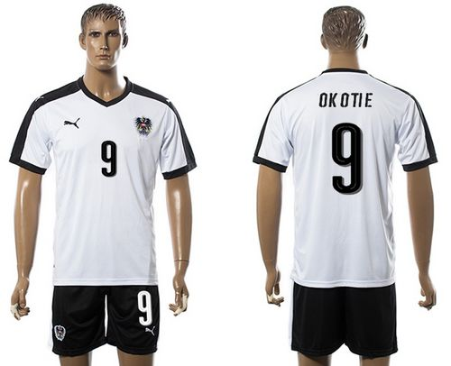 Austria #9 Okotie White Away Soccer Country Jersey