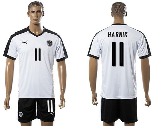 Austria #11 Harnik White Away Soccer Country Jersey
