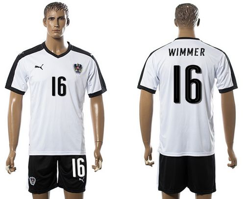 Austria #16 Wimmer White Away Soccer Country Jersey