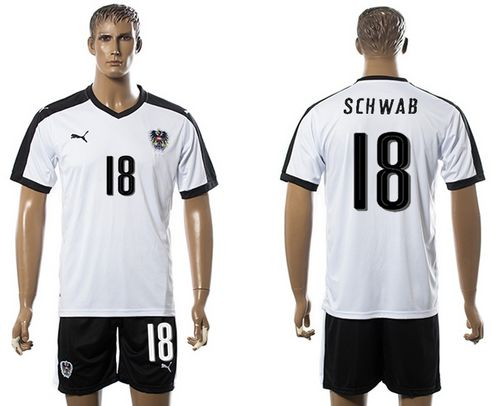 Austria #18 Schwab White Away Soccer Country Jersey