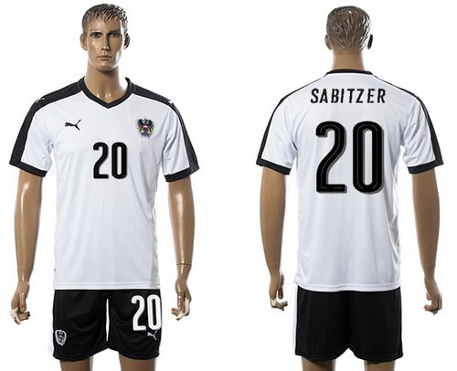 Austria #20 Sabitzer White Away Soccer Country Jersey
