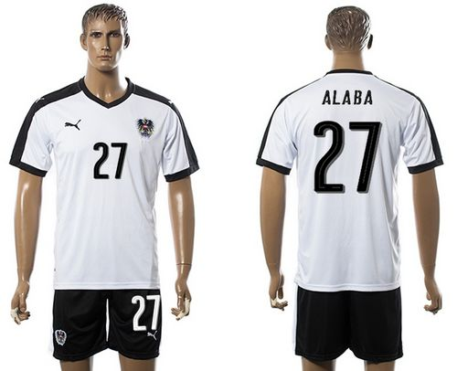 Austria #27 Alaba White Away Soccer Country Jersey