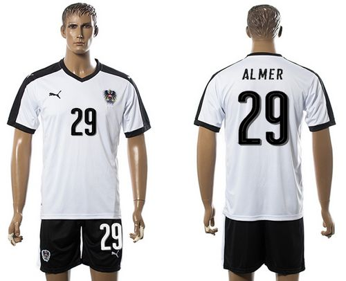 Austria #29 Almer White Away Soccer Country Jersey