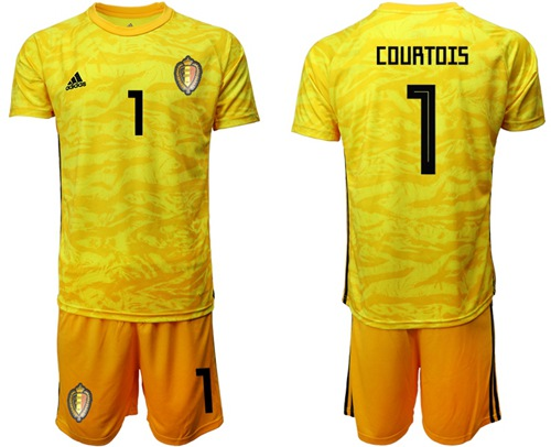 Belgium #1 Courtois Yellow Goalkeeper Soccer Country Jersey