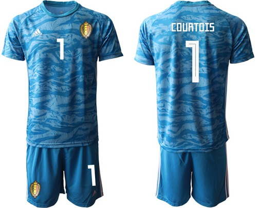 Belgium #1 Courtois Blue Goalkeeper Soccer Country Jersey