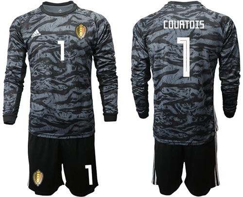 Belgium #1 Courtois Black Long Sleeves Goalkeeper Soccer Country Jersey