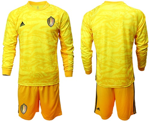 Belgium Blank Yellow Long Sleeves Goalkeeper Soccer Country Jersey