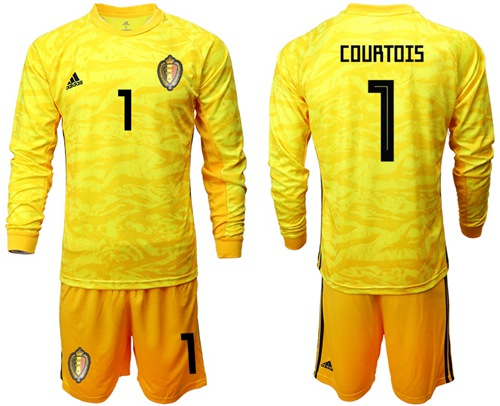 Belgium #1 Courtois Yellow Long Sleeves Goalkeeper Soccer Country Jersey