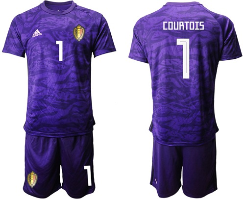 Belgium #1 Courtois Purple Goalkeeper Soccer Country Jersey