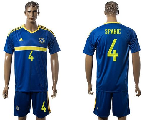 Bosnia Herzegovina #4 Spahic Home Soccer Country Jersey