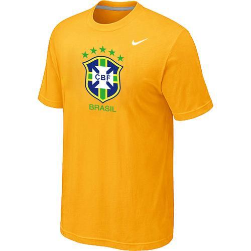 Nike Brazil 2014 World Short Sleeves Soccer T-Shirt Yellow