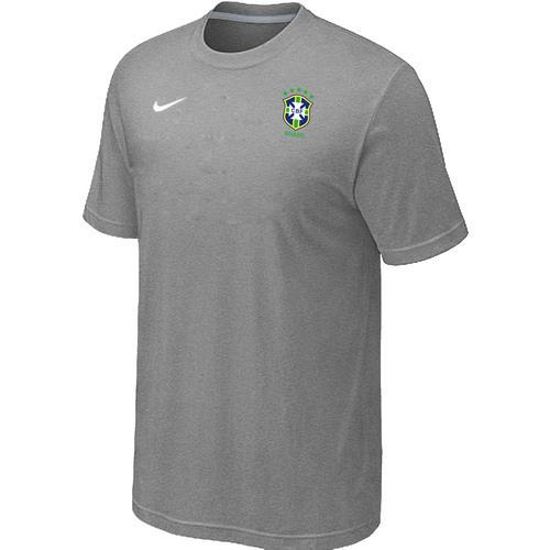 Nike Brazil 2014 World Small Logo Soccer T-Shirt Light Grey