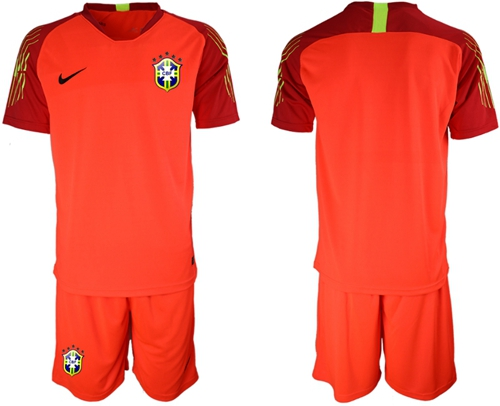 Brazil Blank Red Goalkeeper Soccer Country Jersey