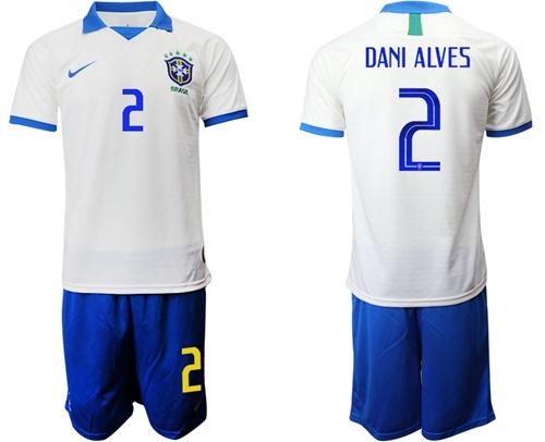 Brazil #2 Dani Alves White Soccer Country Jersey
