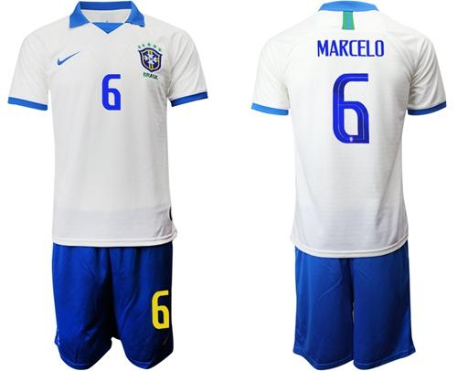 Brazil #6 Marcelo White Soccer Country Jersey
