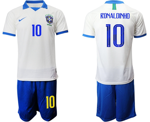 Brazil #10 Ronaldinho White Soccer Country Jersey