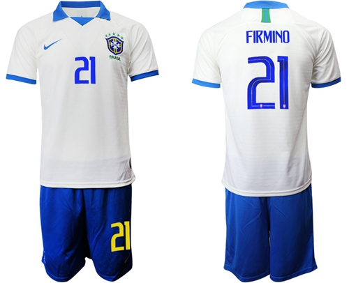 Brazil #21 Firmino White Soccer Country Jersey