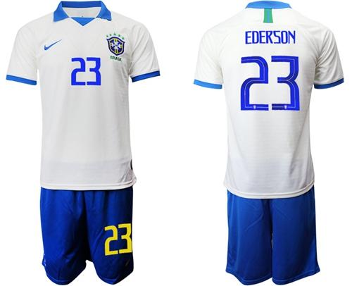 Brazil #23 Ederson White Soccer Country Jersey