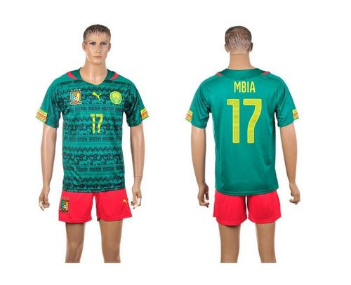 Cameroon #17 Mbia Home World Cup Soccer Country Jersey