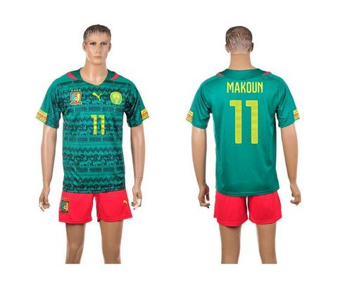Cameroon #11 Makoun Home World Cup Soccer Country Jersey