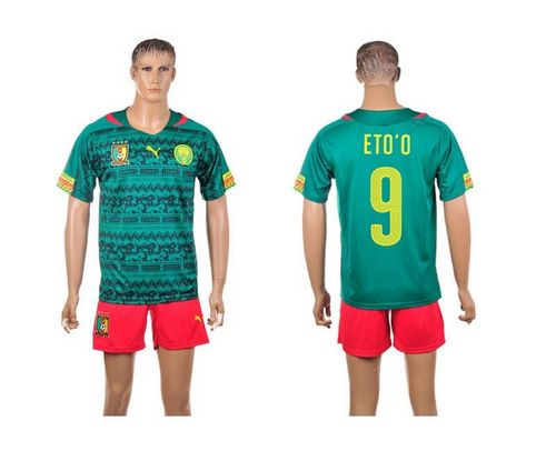 Cameroon #9 Eto'o Home World Cup Soccer Country Jersey