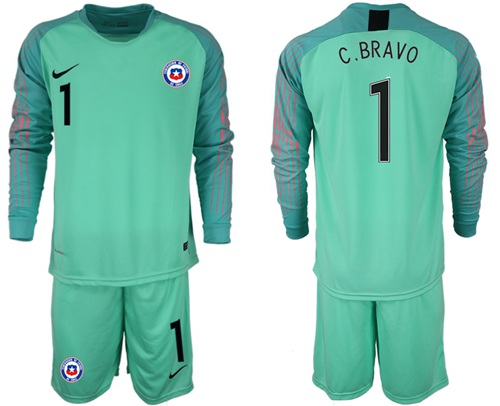 Chile #1 C.Bravo Green Goalkeeper Long Sleeves Soccer Country Jersey