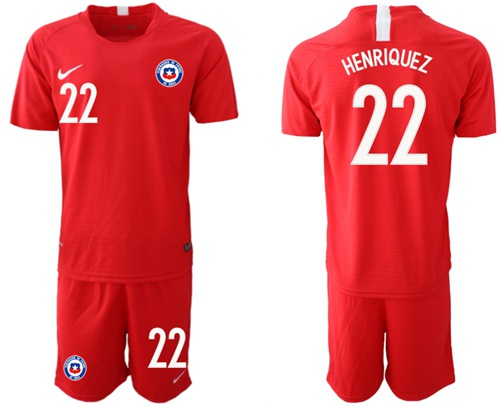 Chile #22 Henriquez Home Soccer Country Jersey