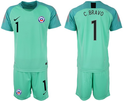 Chile #1 C.Bravo Green Goalkeeper Soccer Country Jersey