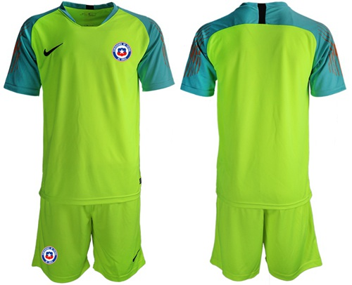 Chile Blank Shiny Green Goalkeeper Soccer Country Jersey