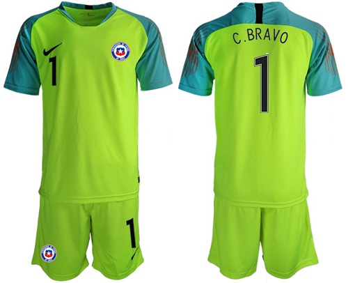 Chile #1 C.Bravo Shiny Green Goalkeeper Soccer Country Jersey