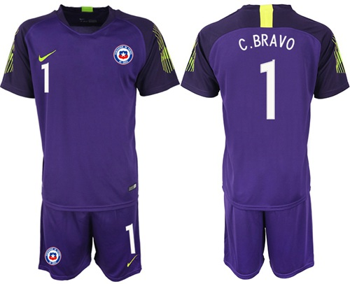 Chile #1 C.Bravo Purple Goalkeeper Soccer Country Jersey