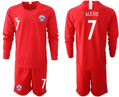Chile #7 Alexis Home Long Sleeves Soccer Country Jersey