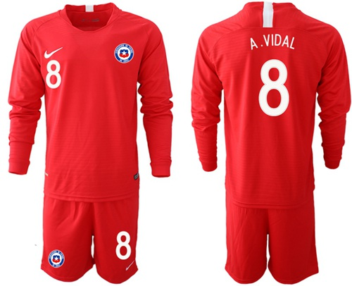 Chile #8 A.Vidal Home Long Sleeves Soccer Country Jersey