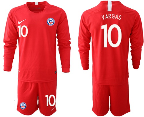 Chile #10 Vargas Home Long Sleeves Soccer Country Jersey