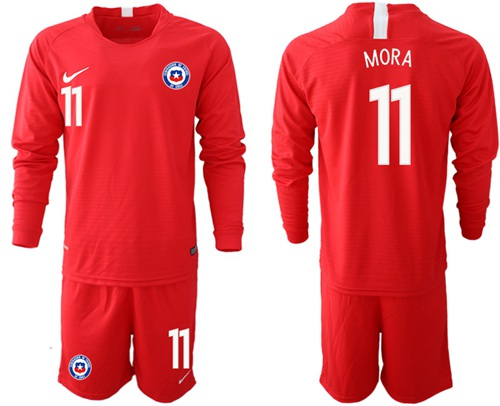Chile #11 Mora Home Long Sleeves Soccer Country Jersey