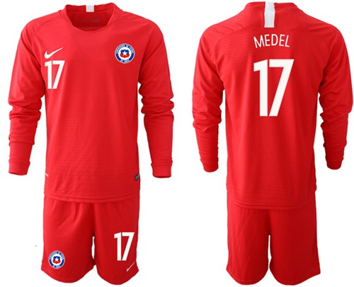 Chile #17 Medel Home Long Sleeves Soccer Country Jersey