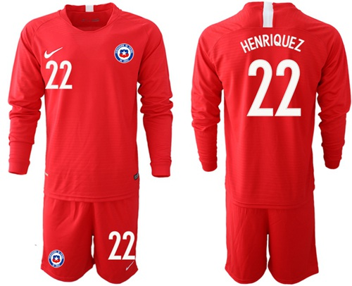 Chile #22 Henriquez Home Long Sleeves Soccer Country Jersey
