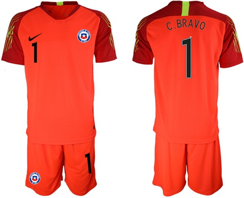 Chile #1 C.Bravo Red Goalkeeper Soccer Country Jersey