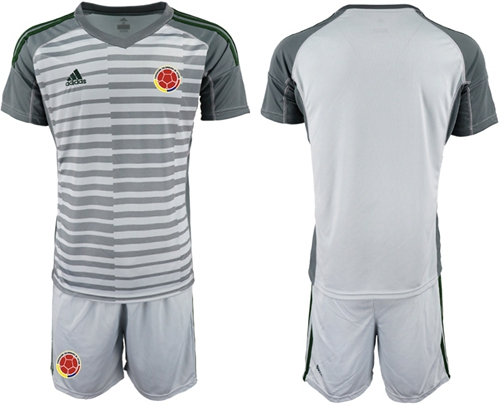 Colombia Blank Grey Goalkeeper Soccer Country Jersey