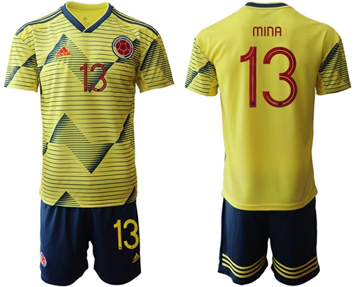 Colombia #13 Mina Home Soccer Country Jersey