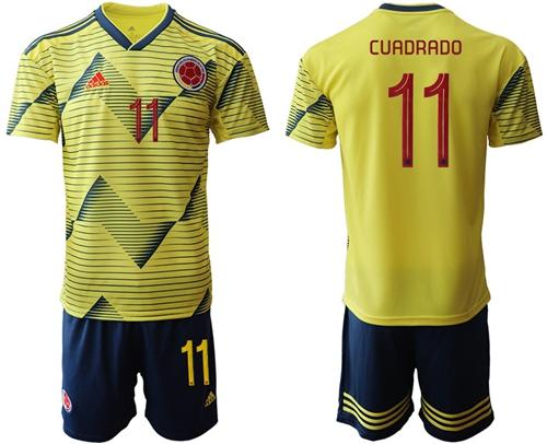 Colombia #11 Cuadrado Home Soccer Country Jersey