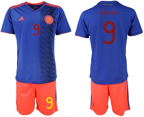 Colombia #9 Falcao Away Soccer Country Jersey