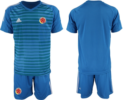 Colombia Blank Blue Goalkeeper Soccer Country Jersey