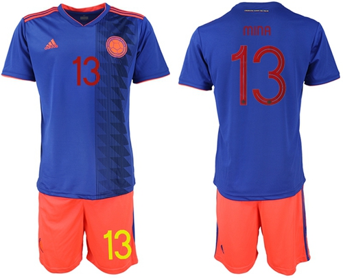 Colombia #13 Mina Away Soccer Country Jersey