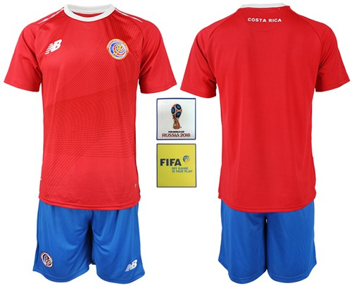 Costa Rica Blank Home Soccer Country Jersey
