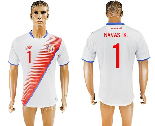 Costa Rica #1 Navas K. Away Soccer Country Jersey