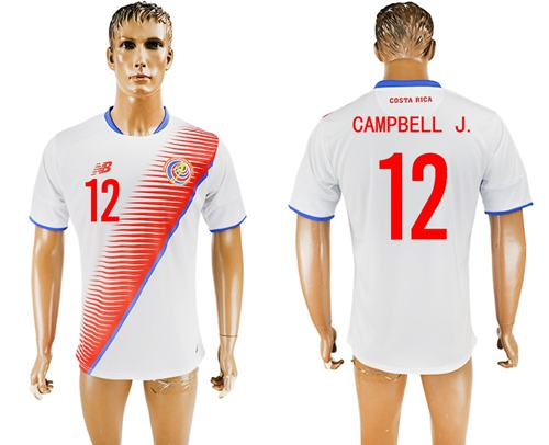 Costa Rica #12 Campbell J. Away Soccer Country Jersey