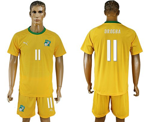 Cote d'lvoire #11 Drogba Home Soccer Country Jersey