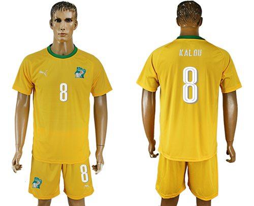Cote d'lvoire #8 Kalou Home Soccer Country Jersey